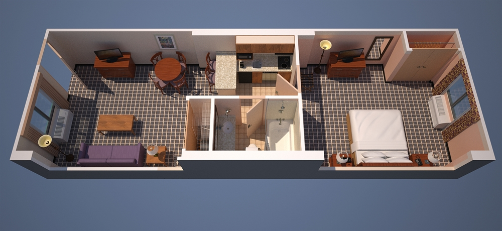 Floor plan of one of our one bedroom suites in Orlando