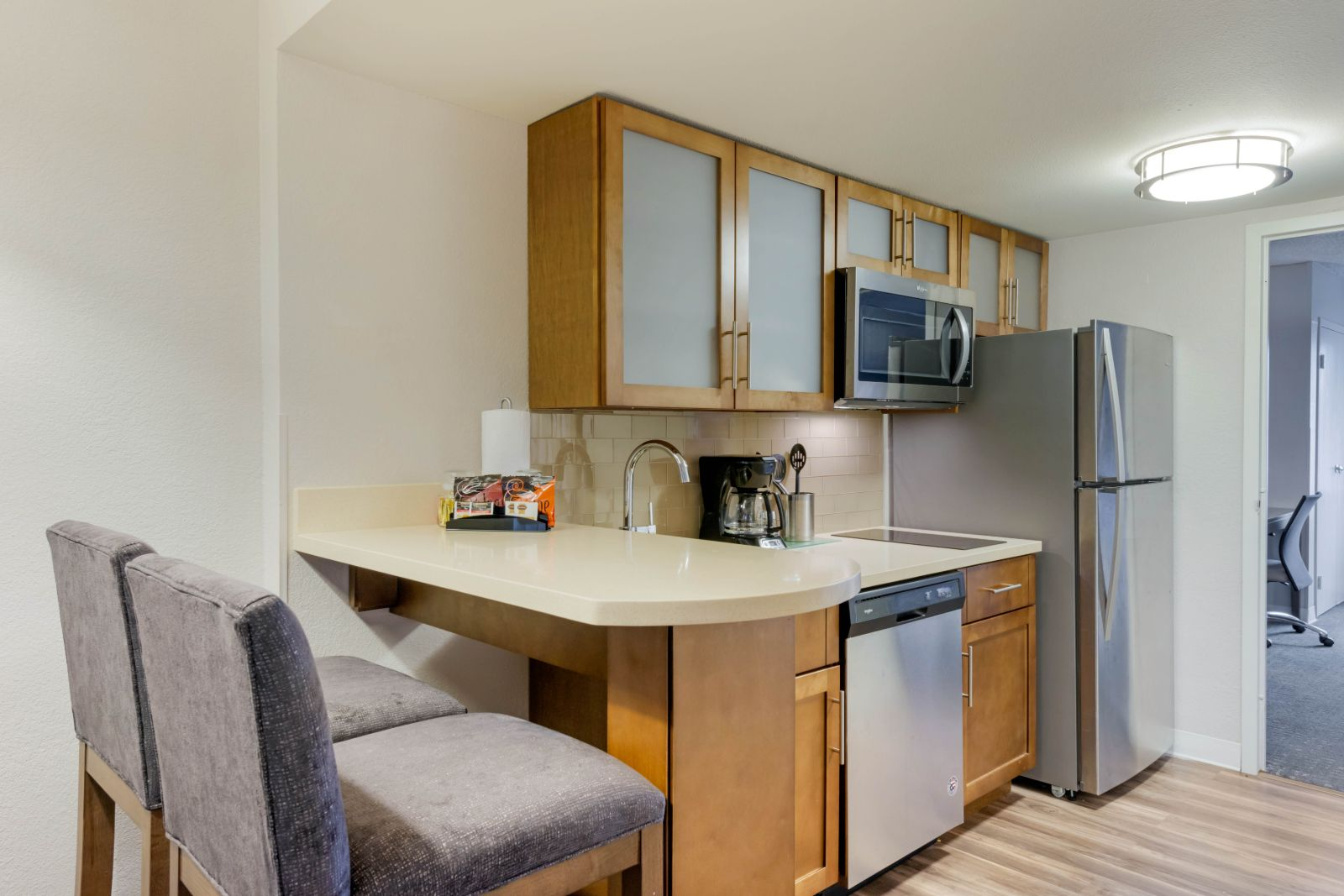 Newly renovated kitchen in one of our Orlando Hotel Suites