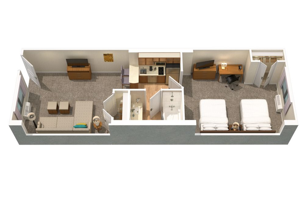 Floor plan of one of our two bedroom suites in Orlando