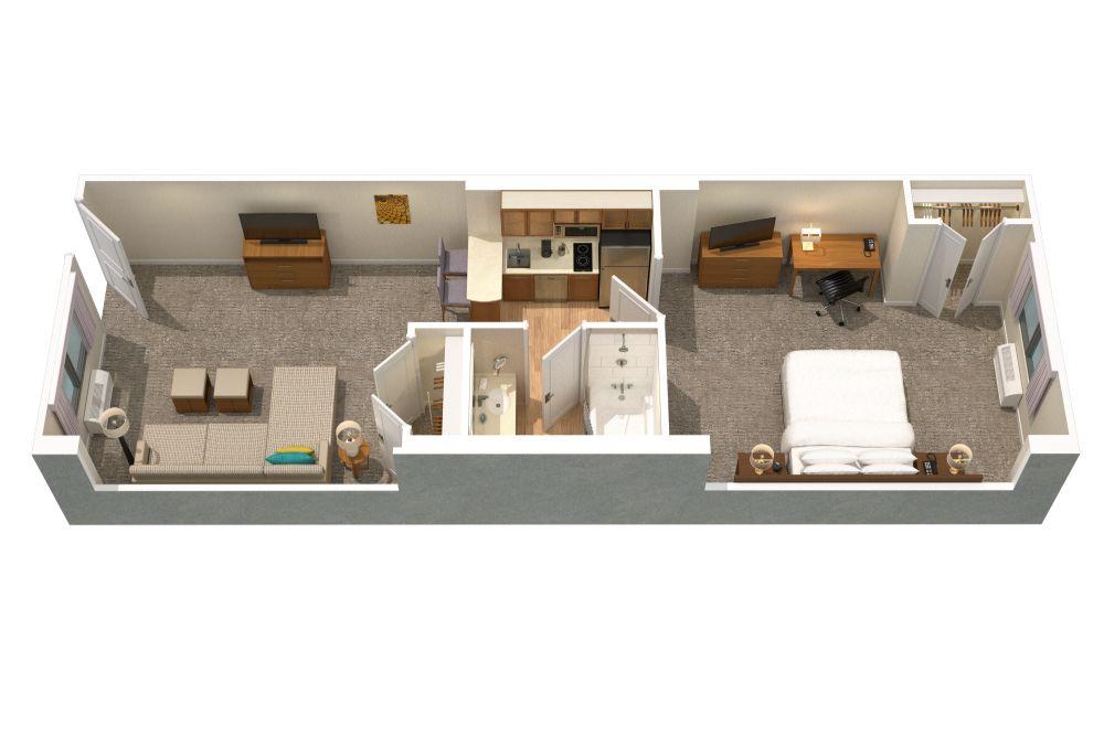 Floor plan of King bedroom suites in Orlando
